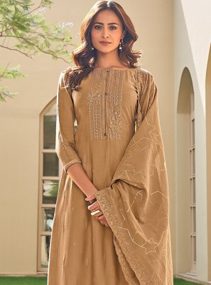 Brown Embroidered Muslin Pant Style Suit