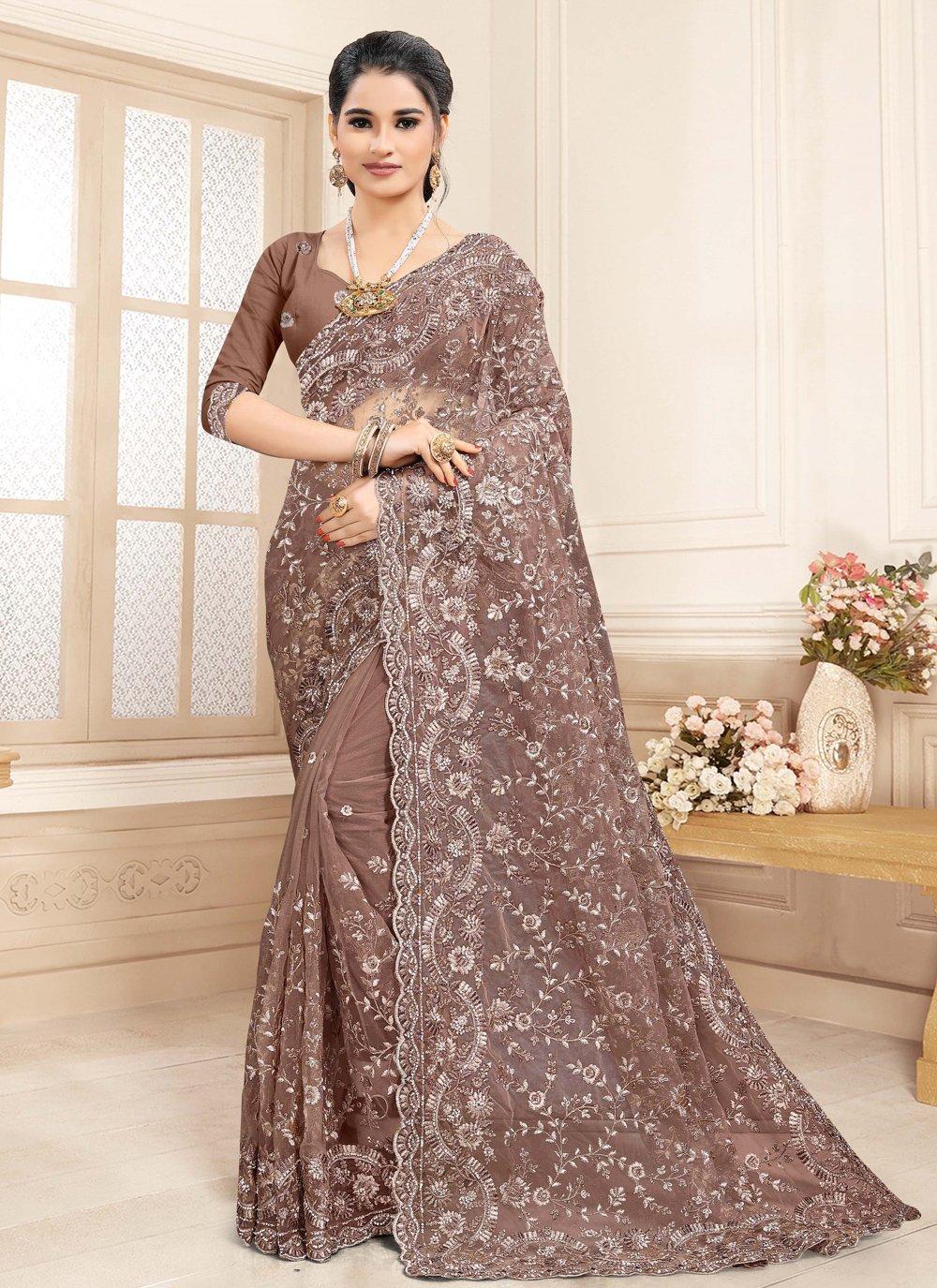 Brown Embroidered Net Designer Saree
