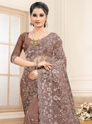 Brown Embroidered Net Designer Saree