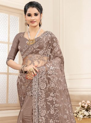 Brown Embroidered Net Trendy Saree