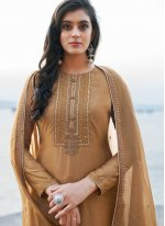 Brown Embroidered Pant Style Suit