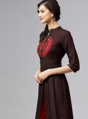 Brown Embroidered Rayon Designer Kurti