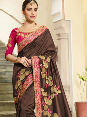 Brown Embroidered Traditional Designer Saree