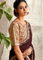 Brown Engagement Traditional Designer Saree