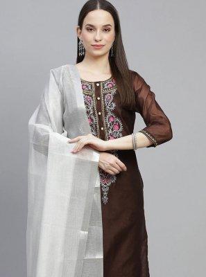 Brown Fancy Chanderi Designer Straight Salwar Suit
