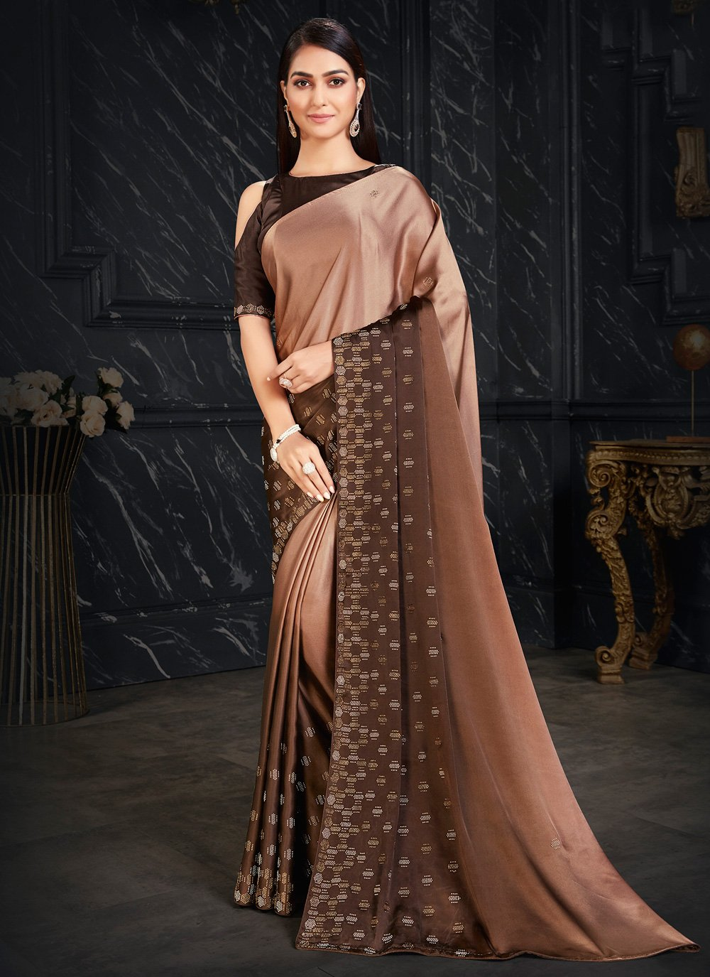 Brown Fancy Fabric Shaded Saree