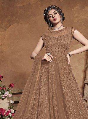 Brown Fancy Net Floor Length Anarkali Suit