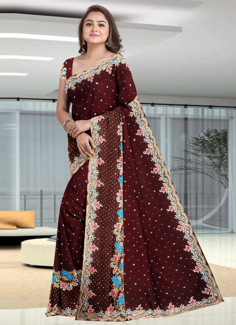 Brown Faux Georgette Ceremonial Classic Designer Saree