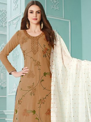 Brown Faux Georgette Designer Palazzo Suit