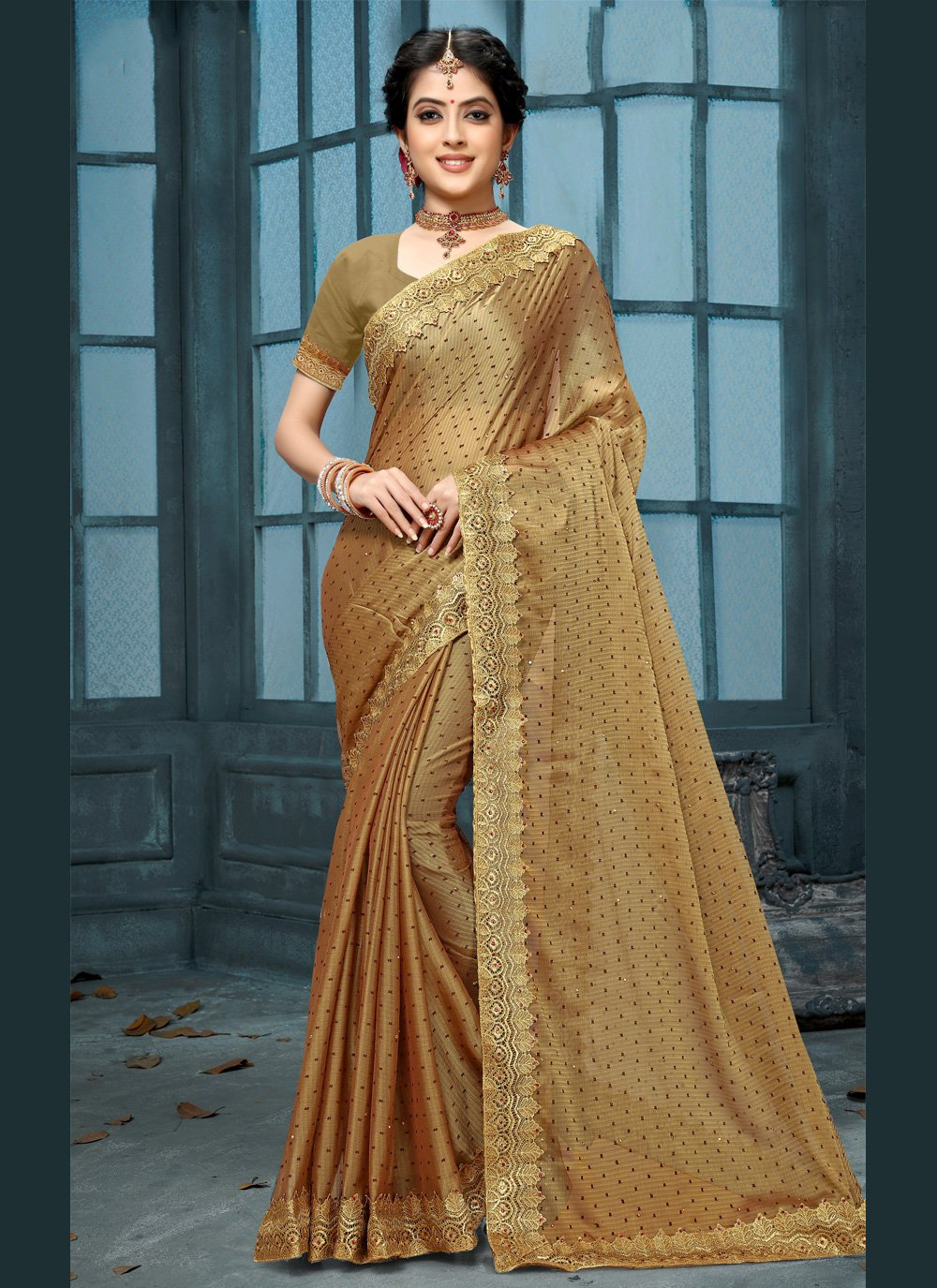 Brown Festival Bollywood Saree