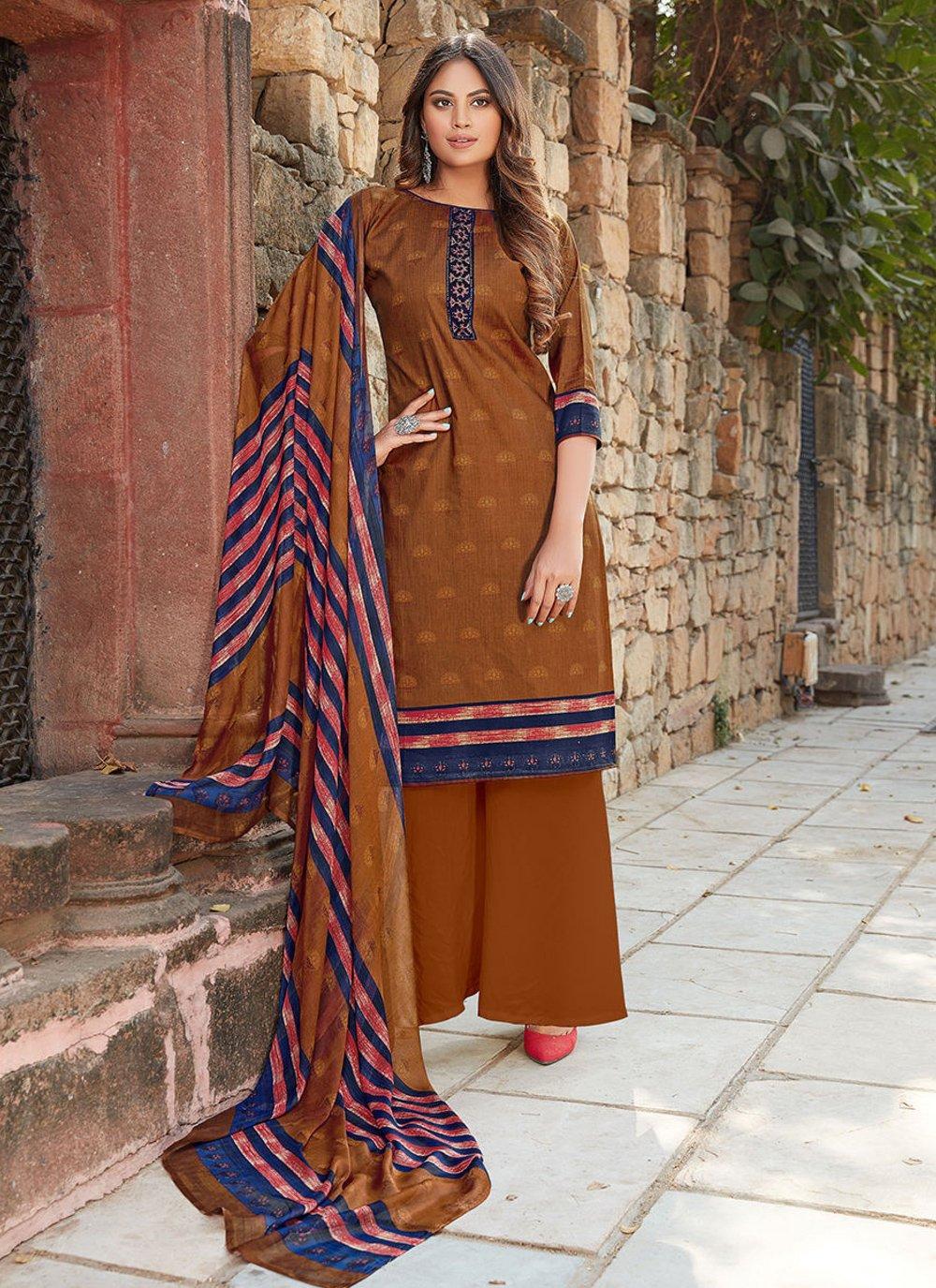 Brown Festival Designer Palazzo Suit