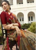Brown Festival Designer Saree