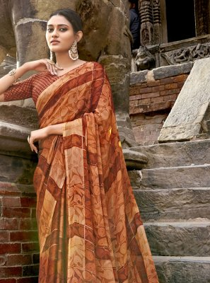 Brown Festival Traditional Saree