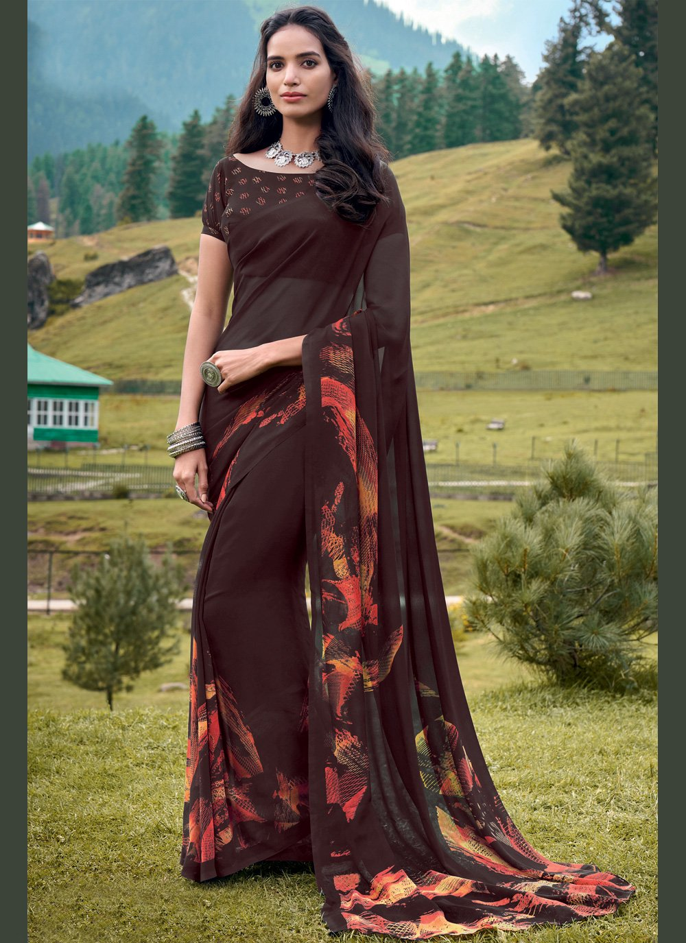 Brown Georgette Bollywood Saree