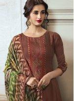 Brown Georgette Satin Ceremonial Designer Pakistani Salwar Suit