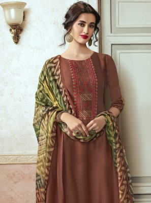 Brown Georgette Satin Ceremonial Designer Pakistani Salwar Suit