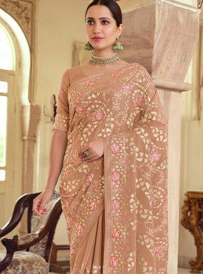 Brown Georgette Satin Resham Designer Saree