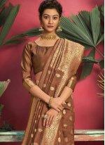 Brown Jacquard Silk Ceremonial Designer Traditional Saree