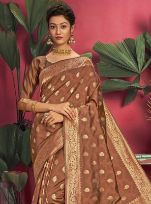 Brown Jacquard Silk Ceremonial Designer Traditional Saree