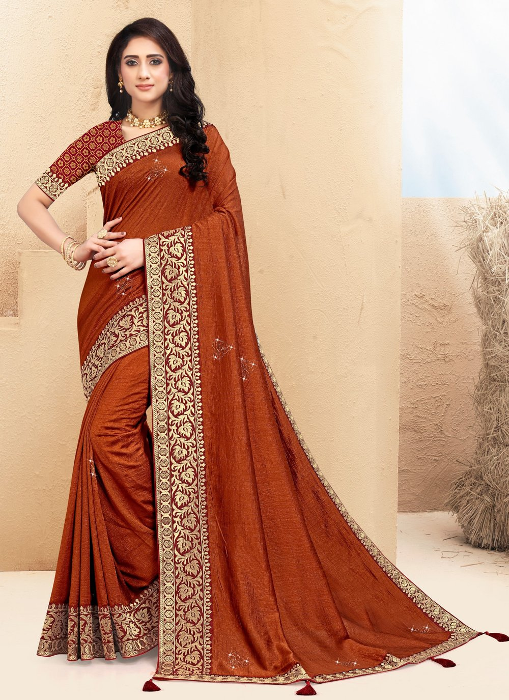Brown Lace Party Bollywood Saree