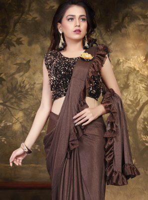 Brown Lycra Sequins Trendy Saree