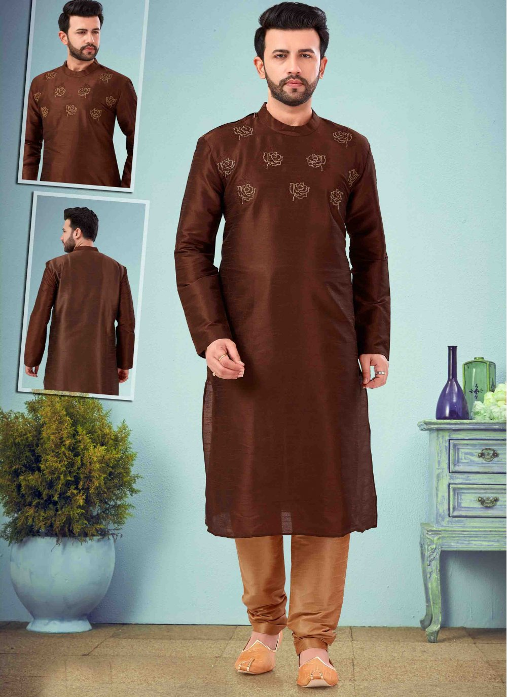 Brown Mehndi Kurta Pyjama