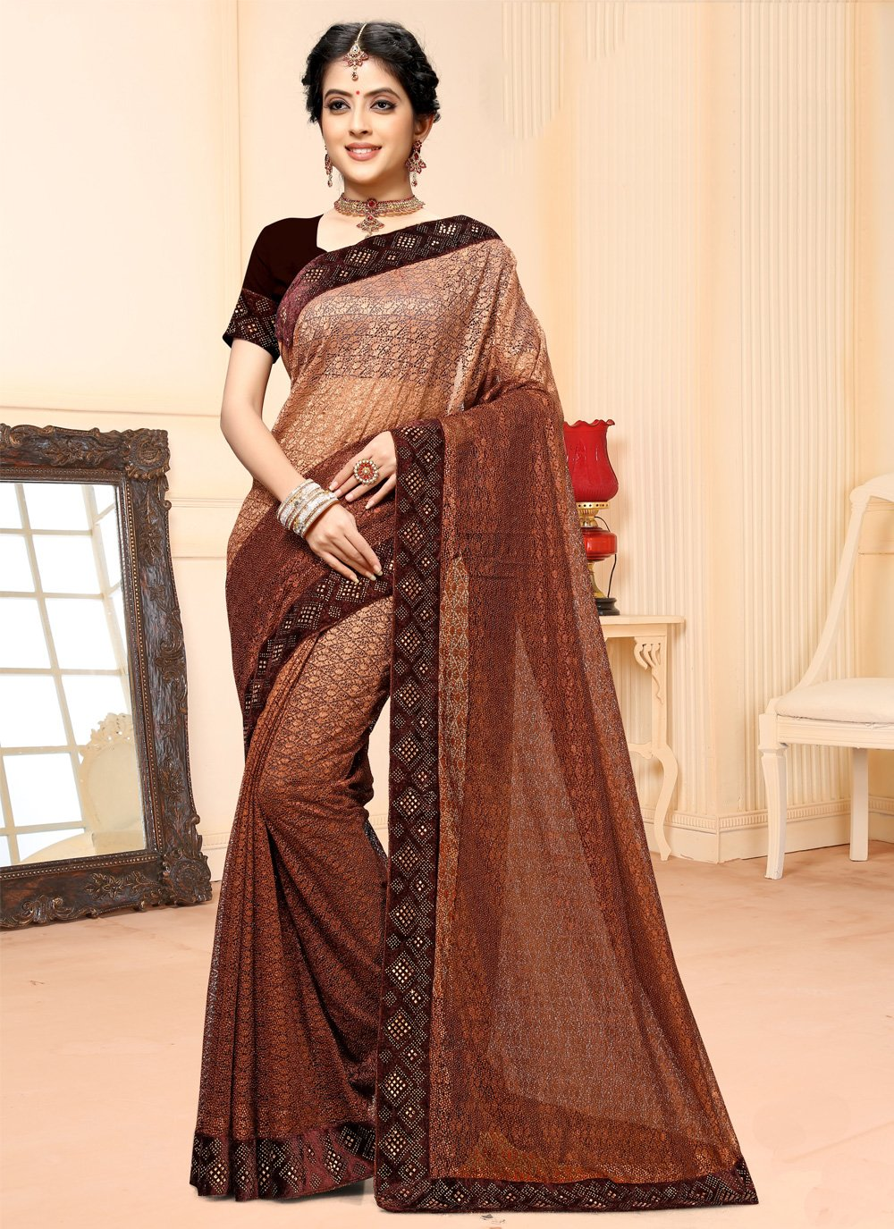 Brown Net Stone Contemporary Saree