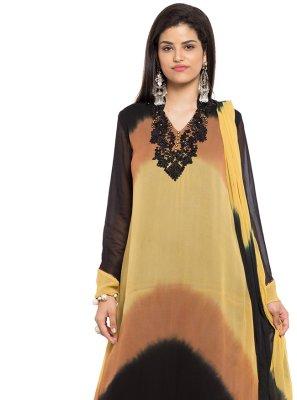 Brown Printed Faux Georgette Readymade Salwar Kameez