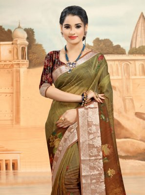 Brown Printed Organza Printed Saree