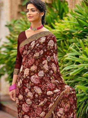 Brown Printed Saree