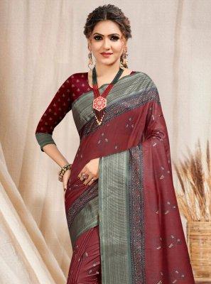 Brown Printed Trendy Saree