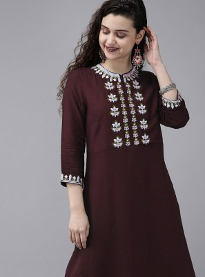 Brown Rayon Embroidered Designer Kurti