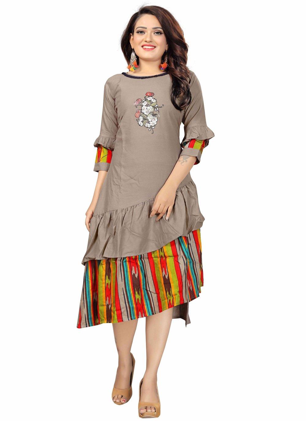 Brown Rayon Printed Party Wear Kurti
