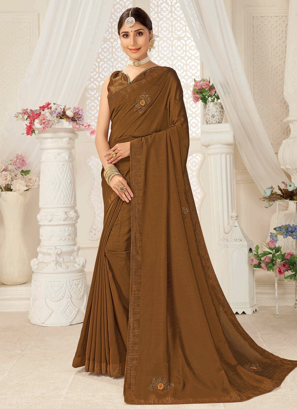 Brown Silk Ceremonial Traditional Designer Saree