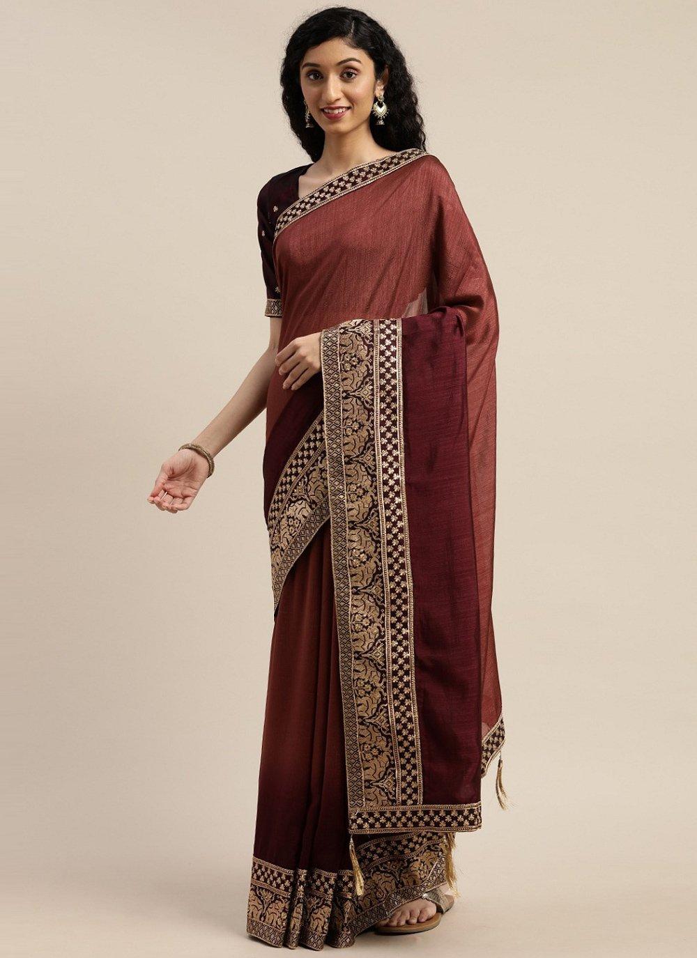 Brown Silk Designer Saree