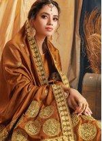 Brown Silk Embroidered Traditional Designer Saree