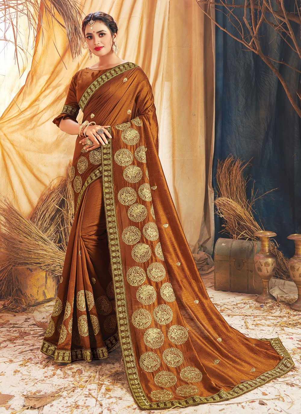 Brown Silk Embroidered Traditional Designer Saree