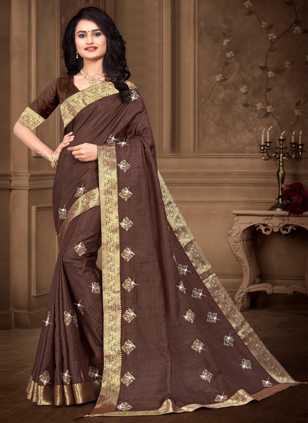 Brown Silk Festival Bollywood Saree