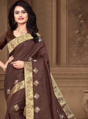 Brown Silk Festival Bollywood Saree