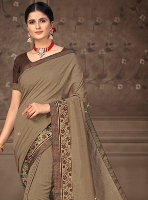 Brown Silk Lace Contemporary Saree