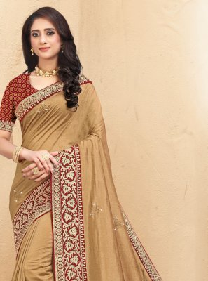 Brown Silk Lace Designer Saree
