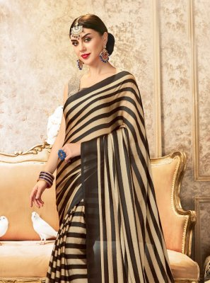 Brown Stripe Print Festival Printed Saree