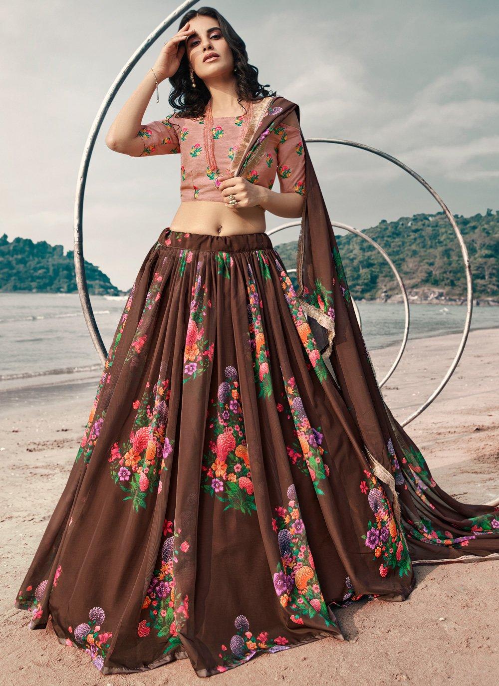 Brown Thread Organza Lehenga Choli