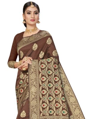 Brown Weaving Festival Traditional Saree