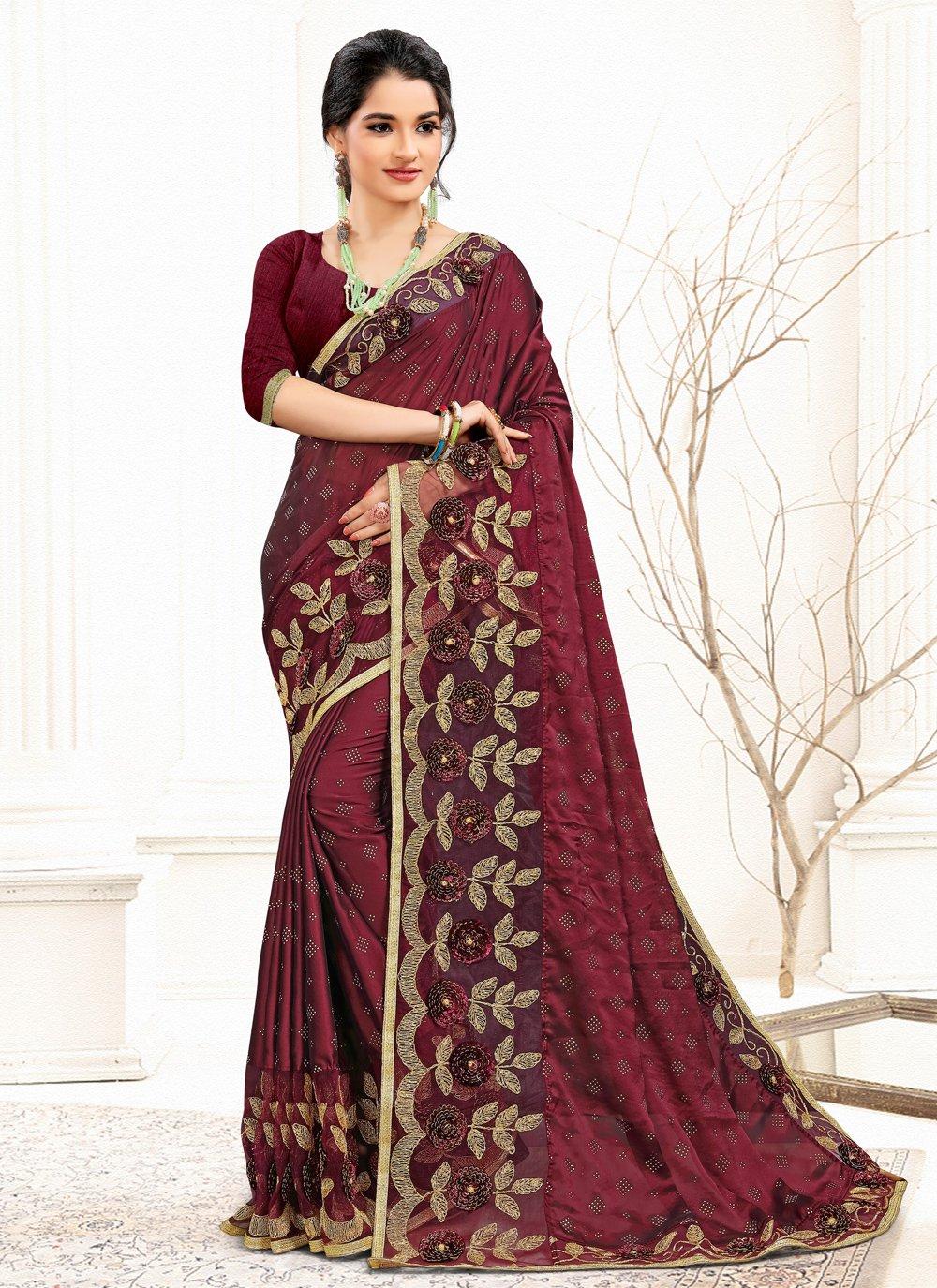 Burgundy Banglori Silk Designer Traditional Saree