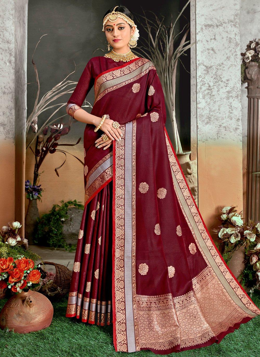 Burgundy Cotton Silk Traditional Designer Saree