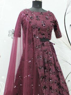 Burgundy Fancy Fabric Lehenga Choli