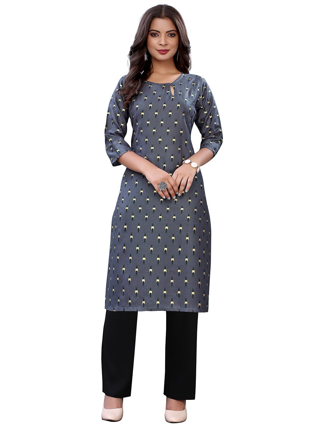 Casual Kurti Abstract Print Cotton in Grey