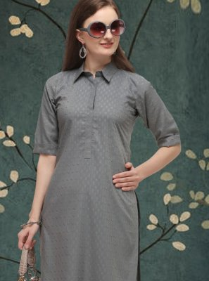 Casual Kurti Plain Cotton in Grey