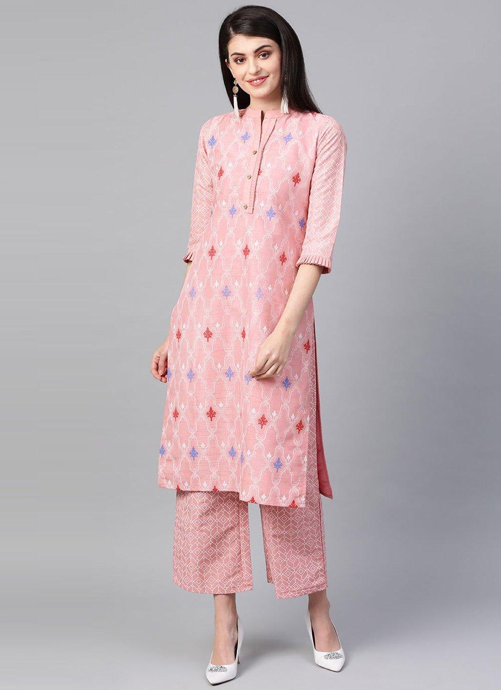 Casual Kurti Print Poly Silk in Pink